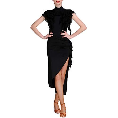 Tanzkleid Frauen Latin Dance Kleid Kurzarm Asymmetrische Fransen Quasten Rumba Samba Tango Ballsaal Dancewear Leistung Wettbewerb Tanzkleid Tanzkostüm für Damen ( Farbe : Schwarz , Größe : XL - Home Tanz Kostüm Für Verkauf