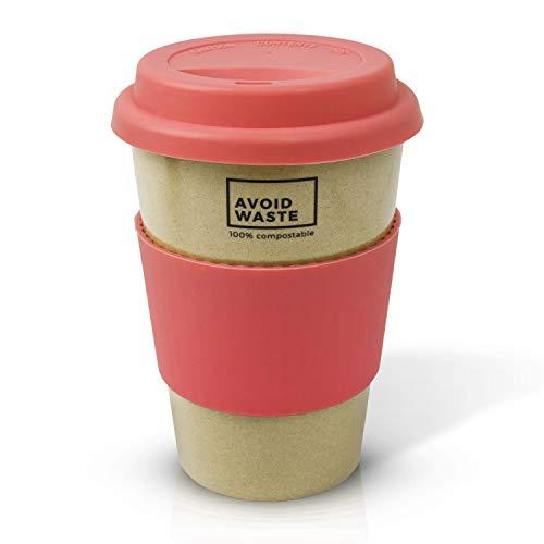 avoid waste - Nachhaltiger Kaffee-Becher to go aus Reishülsen. der Mehrweg-Becher ist Pflanzlich, biologisch abbaubar, BPA Frei, spülmaschinenfest und Umweltfreundlich (Rosa) - 2