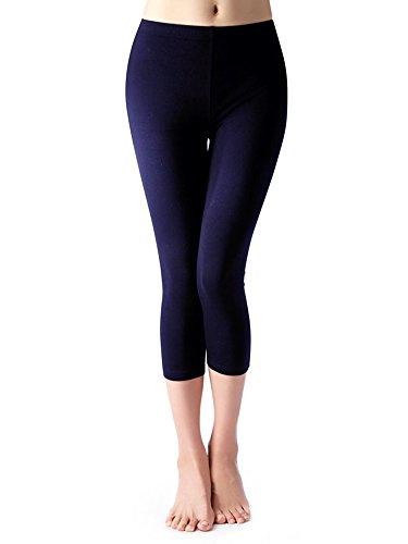 Kuckuck 3/4 Leggings Damen Baumwolle Blau Capri Leggins Marine High Waist Blickdicht für Sommer - Blaue Baumwolle Mischung