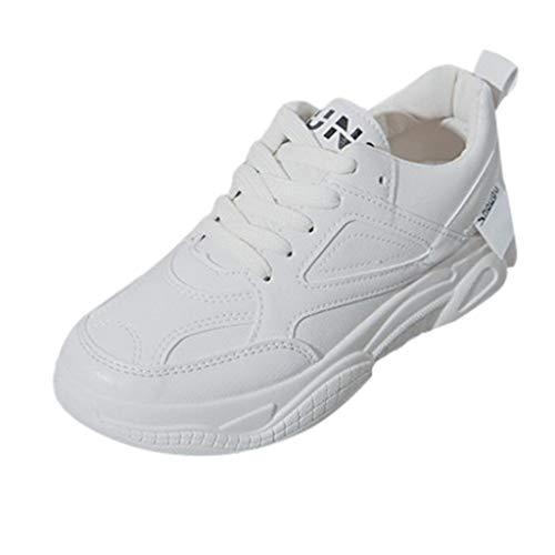 Femme Basket Mode,LANSKIRT Chaussures De Sport De Blanches Baskets à Lacets Vieilles Chaussures Sneakers Chaussures De Course Sports Athlétique Casual Fitness Gym Running Shoes