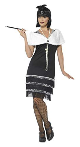 Smiffy's Smiffys-43128X1 Disfraz de años 20, con Vestido, Diadema yEstola de Pelo, Color Negro, XL - EU Tamaño 48-50 43128X1