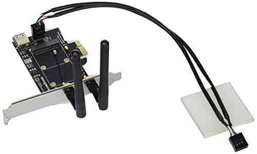 SilverStone SST-ECWA2-Lite - Mini PCI-E zu PCI-E Adapter-Karte + 2x Dual Band(2.4GHz 2dBi/5GHz 3dBi) MIMO Antenne, WIFI&Bluetooth Kombi-Karte-Unterstützung und 1x USB 2.0-Anschluss (Pci-adapter Wifi)