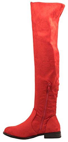 Stivali Da Donna Elara | Overknees A Maniche Lunghe Comode | Blocco Tacco Scamosciato Look Rosso Lyon