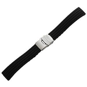 SODIAL(R) Uhrenarmband, Armband, Silikon, Gummi, Faltschliesse, wasserfest, 18 mm