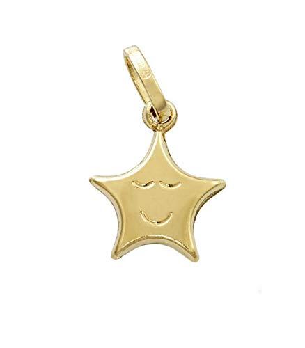 Gioielli di Valenza Ciondolo Stella con faccino in Oro Giallo 18kt