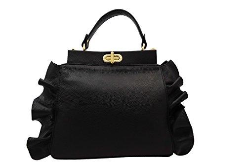 Handtasche Leder A.129 schwarz (Leder Chanel Handtaschen)