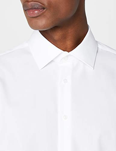 Seidensticker Herren Business Hemd Tailored Fit – Bügelfreies, schmales Hemd mit Kent-Kragen – Langarm – 100% Baumwolle, Large (Herstellergröße: 42), Weiß (Weiß 1)