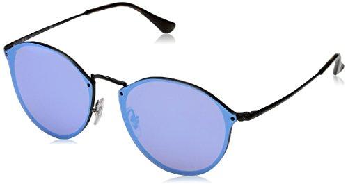 RAYBAN JUNIOR Unisex-Erwachsene Sonnenbrille Blaze Round Demiglos Black/Darkvioletmirrorblue, 59