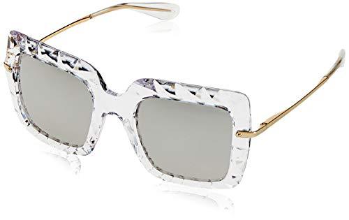 Dolce & gabbana 0dg6111 31336g 51, occhiali da sole donna, bianco (crystal/lightgreymirrorsilver)