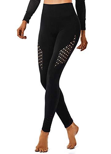 INSTINNCT Damen Yoga Lange Leggings Slim Fit Fitnesshose Sporthosen #2 Energie Stil - Schwarz M