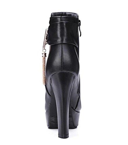 grezzo-alto tacco stivali tondo punta lato cerniera Martin stivali inverno shose black