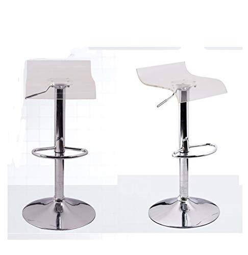JHSHENGSHI 2er-Set Barhocker Barstuhl Hocker,Design Hocker Barhocker, stufenlose Höhenverstellung, Antirutschgummi, um 360° Drehbar, White transparent
