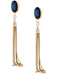 BELLOFOX Golden Alloy Long Chain Tassel Earrings for Women