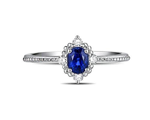Epinki 18k oro donna ovale anello solitaire anello argento con bianco blu diamante zaffiro anello taglia 21