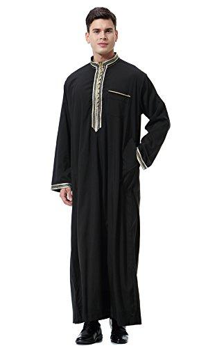 Dreamskull Herren Männer Muslim Abaya Dubai Muslimische Islamische Arab Arabisch Kleidung Kaftan Robe Pullover Kleider Maxi Kleid Indien Türkisch Casual Festlich (XXXL, Schwarz)