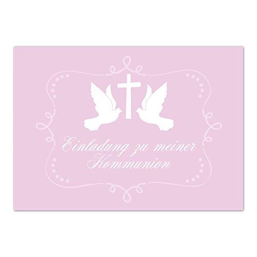 15 x Einladungskarten Kommunion mit Umschlag / 2 Tauben auf Rosa / Kommunionskarten / Einladungen zur Feier