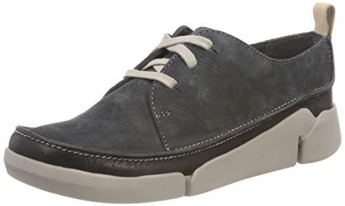 Clarks Damen Tri Clara Sneaker, Grau (Dark Grey Nubuck), 39.5 EU