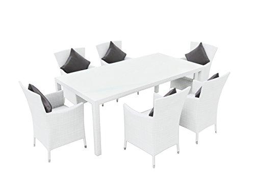 ARTELIA - Ceres L Polyrattan Essgruppe, Gartenmöbel-Set für Garten, Terrasse, Wintergarten und Balkon, Sitzgruppe weiß