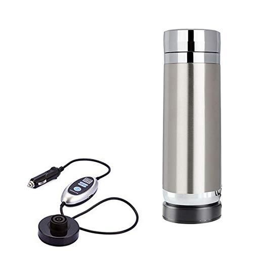 EP-Car Auto-Elektronik Kettle, Intelligente Fernbedienung, LED-Digitalanzeige, Außen Bequemer Reise-Cup (380Ml),Silber