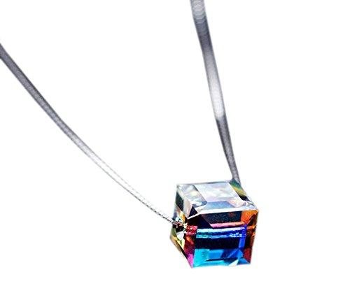 DELEY S925 Sterling Silver Rainbow Nudo Trapano Ciondolo di Cristallo Collana Collare (Fk Cristallo)
