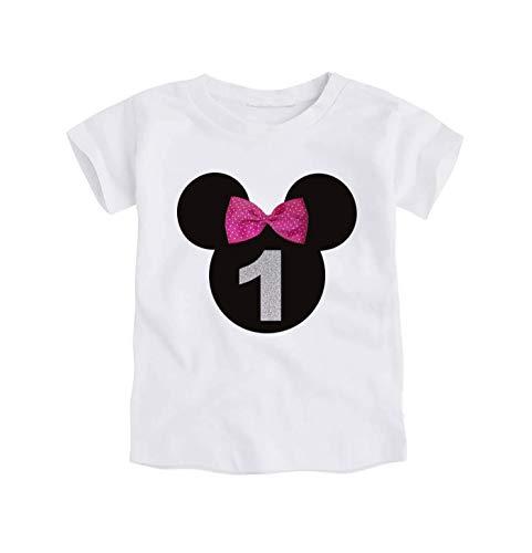 Camiseta Primer Cumpleaños Bebe Niña / 1 Año/Número
