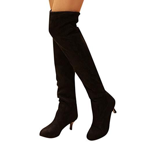 Geili Damen Overknees Stiefel mit Spitze Absätze Frauen Elegante Wildleder Plateau High Boots Winterschuhe Langschaft Med Heels Winterstiefel Stöckelschuh Abendschuhe 36-41
