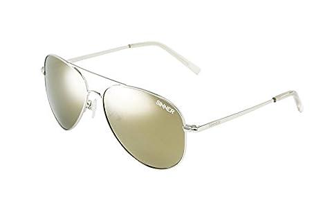 Sinner MORIN Polycarbonate Aviator Sunglasses, Silver Metal, SISU/723/2009