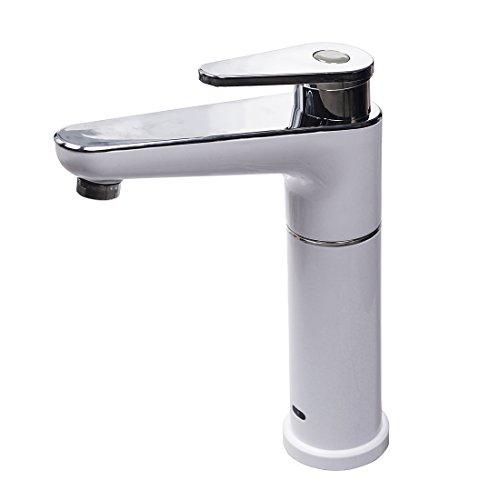 Sofort elektrisch Hot Wasserhahn 2,5kW Wasser Heizung Küchenarmatur Einhebelmischer chrom weiß, 90Grad-Kalt- und Warmwasser Wasserhahn