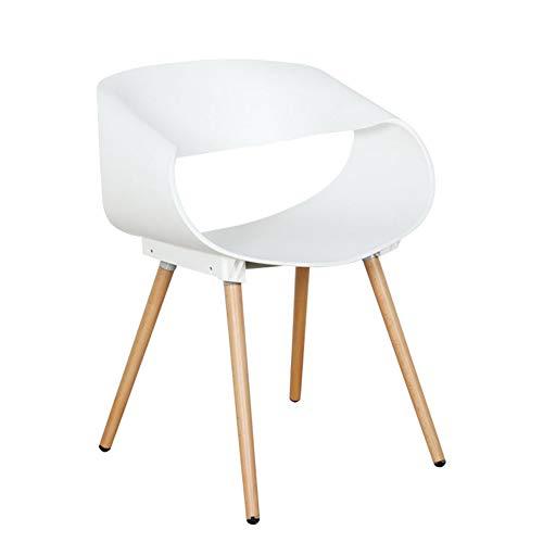 ZHENHAO Wohnzimmerstuhl Esszimmerstuhl Polypropylen Und Buchenholz Retro Design Stuhl Für Büro Lounge Küche Non-Slip Durable Ergonomic Design,White -