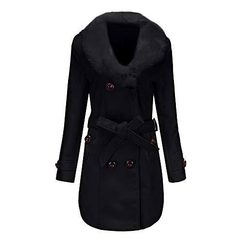 KEERADS Damen Wintermantel Lang Elegant Warm mit Pelzkragen Zweireiher Winterjacke Mantel Jacke (L,Schwarz)