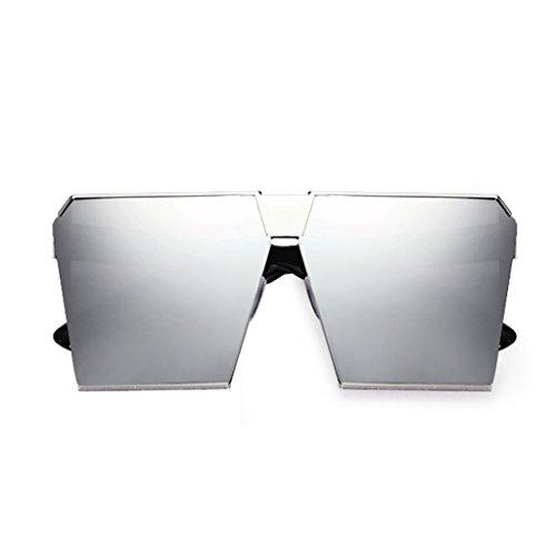 NUBAO Sonnenbrille Brille Runde Gesicht Quadrat Wohnung Sonnenbrille Sonnenbrille Weiblich Sonnenbrille Männer Fahren Spiegel Reise Strand Essential (Farbe : Silber)