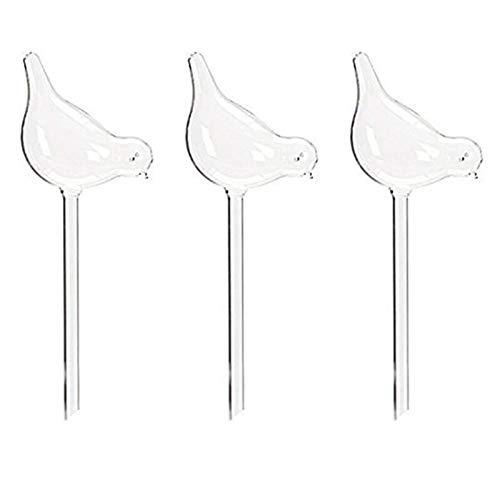 TOOGOO 3 Packungen Pflanzenwasserspender Mit Automatischer Bewaesserungskugel,Vogelform Mundgeblasene Transparente Glas-Wasserball-Lampe
