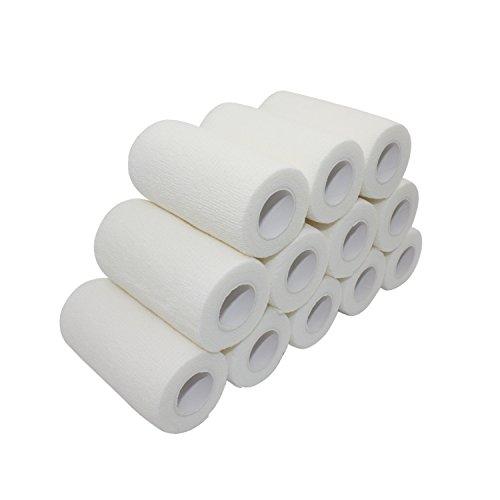 COMOmed Non-Stick Haar selbstklebender verband, elastische binde ,handgelenk bandage, pflaster rolle, Dog Bandagen,Tierische Bandagen Weiß 10 cm X 4.5m 12 Bände -