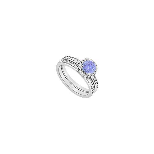 Halo Tanzanite Engagement Ring Diamond with Wedding Band Sets in 14k White Gold 1.30 Carat TGW (Pave Diamond Wedding Ring)