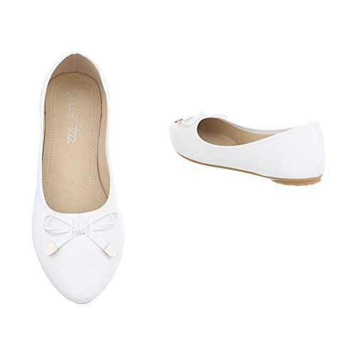 Ital-Design Klassische Ballerinas Damenschuhe Geschlossen Moderne Ballerinas Weiß