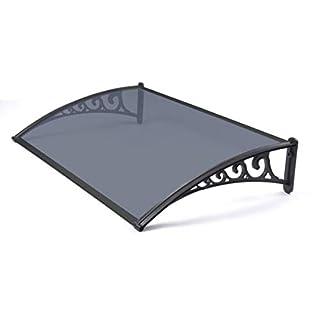 Greenhurst Easy Fit 1m Tinted Door Canopy - Black, 100x60x0.16 cm