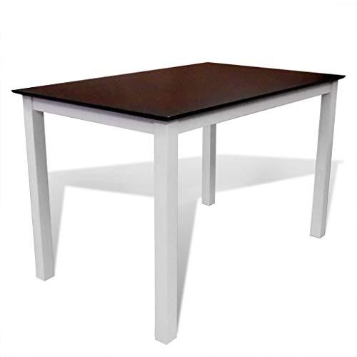 Tuduo Tavolo da Pranzo 110 cm in Legno Massello Marrone e Bianco ...