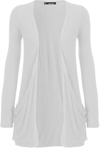 WearAll - Ladies Long Sleeve Pocket Cardigan Womens Top - White - 12 / 14