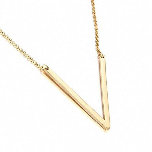 ILLISIO Edelstahl Halskette für Damen - Personalisierte Buchstabenkette mit Anhänger - V Gold (Personalisierte Gold-halskette)