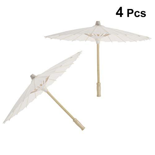 Weiß Papier Regenschirm Sonnenschirm für Hochzeit Braut Foto Cosplay Prop 4 Stück 30cm