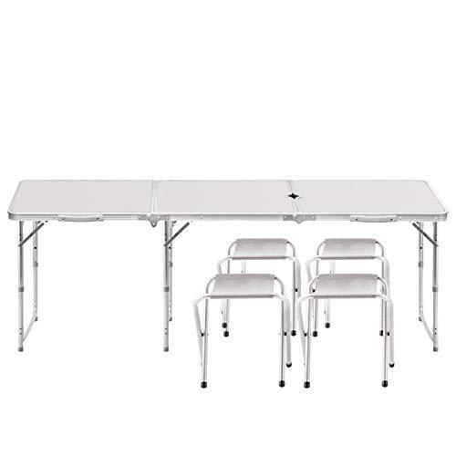 WU LAI Table Et Chaise Pliantes Extérieures | Table De Pique-Nique en Aluminium | Table Pliante Multifonctions Portable,White-70x70x180cm