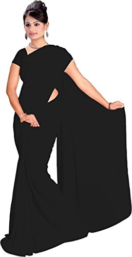 Fab Fiona One Minute Georgette plain Saree For Women.
