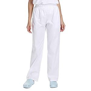 WWOO Pantalones  mujer blancos Pantalones de trabajo uniformes  Cintura elástica Material  profesional suelto