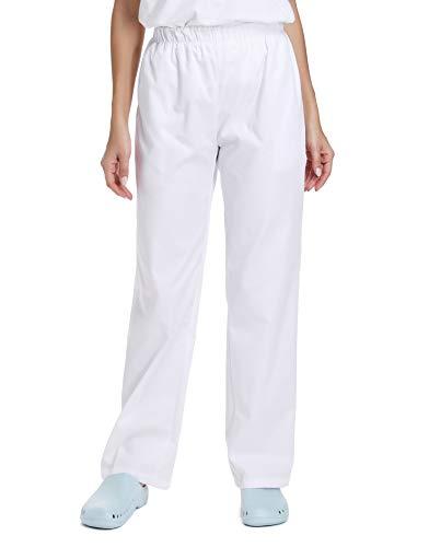 WWOO Donna Pantalone da Lavoro Bianco Puro Cotone Pantaloni Medical Pantaloni da Infermiere Opaco pantalaccio con Elastico Materiale Sottile XL