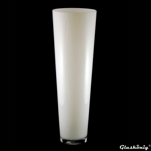 Große Konische Glas-Vase Konischer Zylinder weiß 70cm Ø 22,5cm. Bodenvase in weiß zur Dekoration und als Blumenvase von Glaskönig