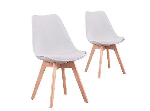 UsineStreet Lot de 2 chaises scandinaves Andrea avec Coussin et Pieds Bois - Couleur - Blanc