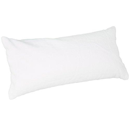 com-four® Badewannenkissen mit Saugnäpfen in weiß, Weiches Nackenkissen mit Reißverschluss für die Badewanne zum Entspannen, 38 x 19 x 9 cm (01 Stück - weiß)