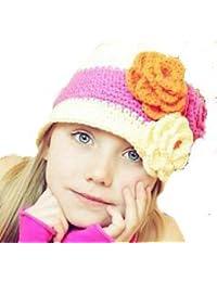 LadyMYP©Handgemachte Strickmütze, Babymütze, Kindermütze, Hüte, 100% Wolle, Weiß-Pink Mütze