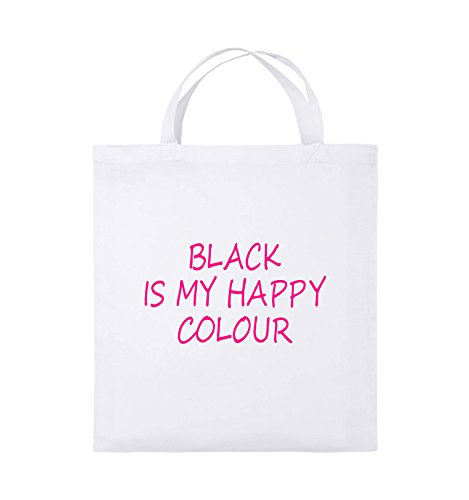 Comedy Bags - BLACK IS MY HAPPY COLOUR - Jutebeutel - kurze Henkel - 38x42cm - Farbe: Schwarz / Pink Weiss / Pink