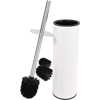 Klob/ürste Toilettenb/ürsten Edelstahl 1er Set wei/ß mit schwarzer B/ürste Cleanpuls WC-B/ürste mit Beh/älter WC-B/ürste mit Beh/älter 1er Pack